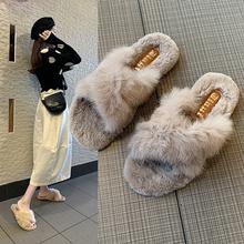 毛毛拖鞋女外穿2021春秋冬新款韩版孕妇家居室内交叉网红毛绒棉拖