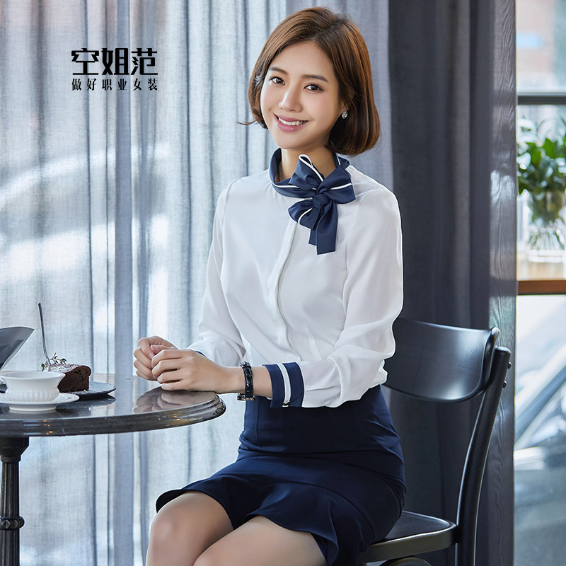 空姐职业制服套装女夏季短袖气质售楼部客服酒店前台美容院工作服