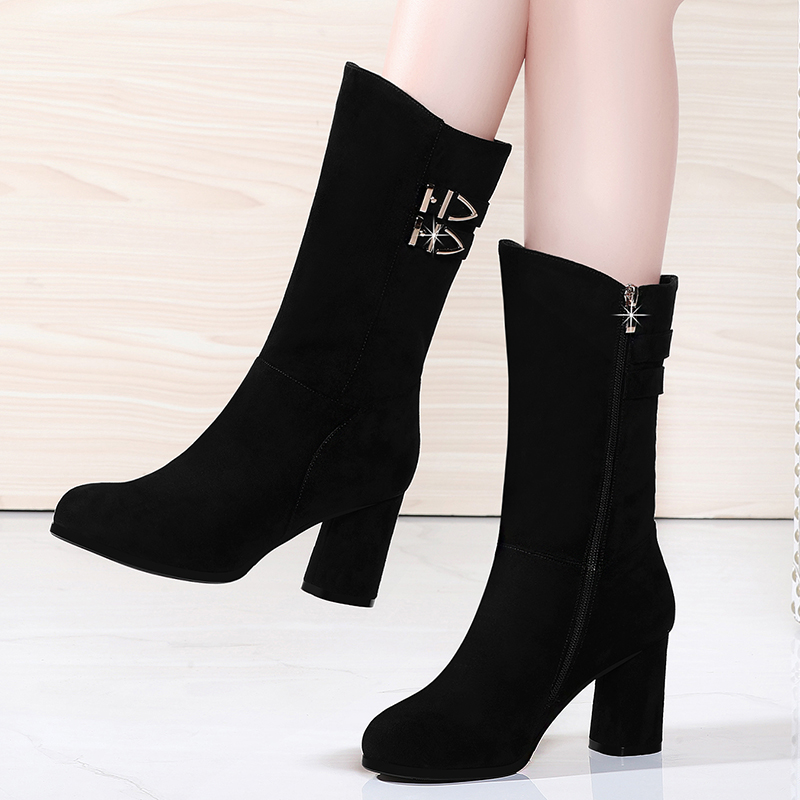 Boots children autumn winter 2020 new frosted short boots middle heel snow boots thick heel middle tube high heel Plush womens shoes
