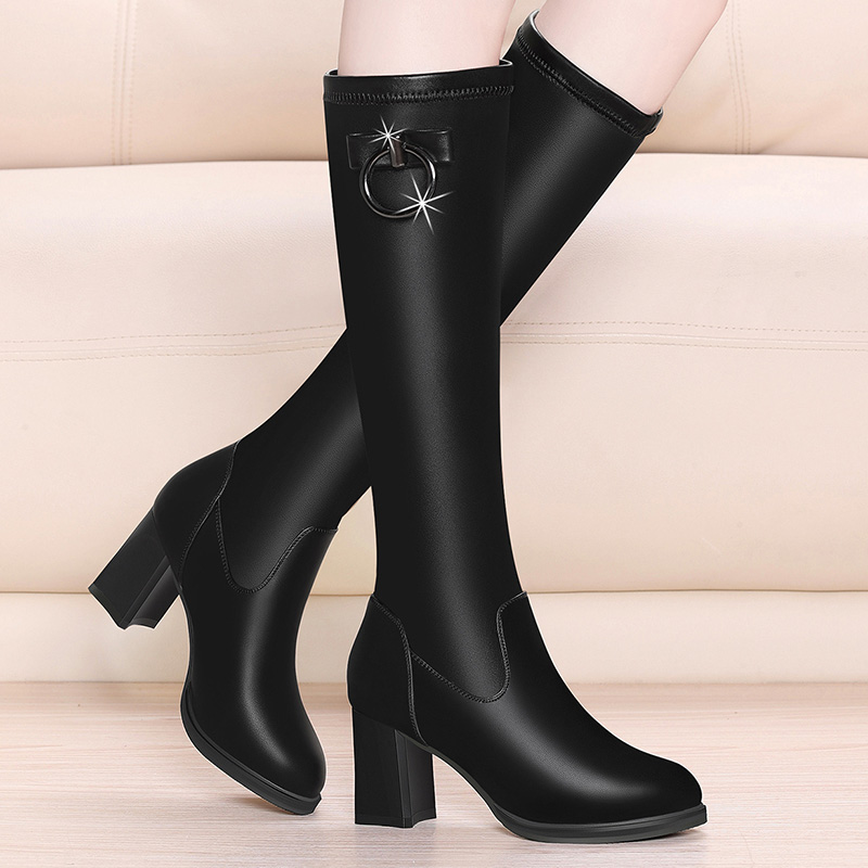 Autumn and winter 2020 new knee length boots, high boots, plush womens boots, middle heel, middle sleeve womens high heel elastic boots