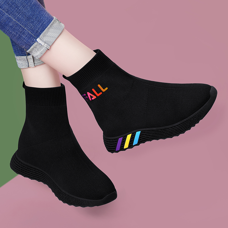 Spring high top elastic socks shoes womens spring shoes 2021 new flat bottom daddy socks boots spring and autumn flying woven sports shoes