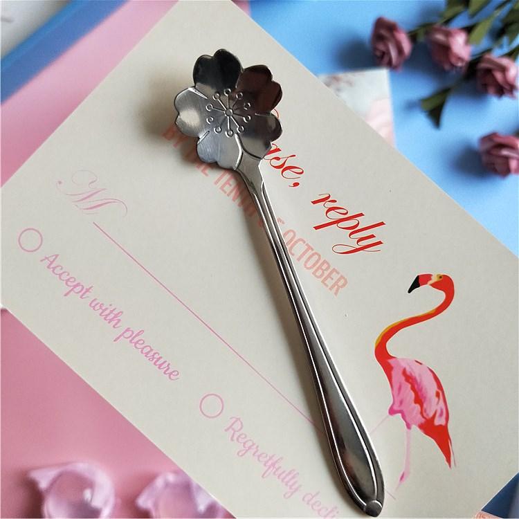 少女心日式樱花咖啡勺子不锈钢小勺创意杯勺可爱甜品奶茶搅拌勺