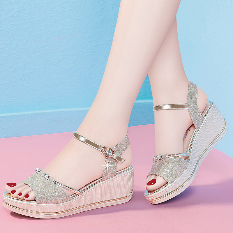Summer 2021 ROMAN SANDALS fairy style new versatile fashion high heel slope heel thick bottomed muffin womens shoes