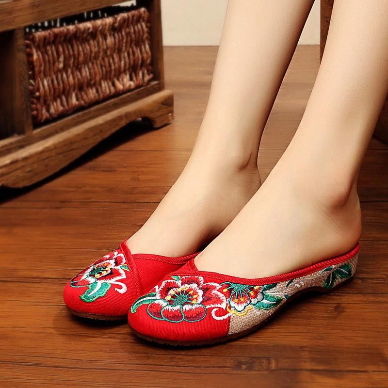 老北京布鞋女春季新款民族风绣花鞋芙蓉花包头透气拖鞋居家凉鞋子