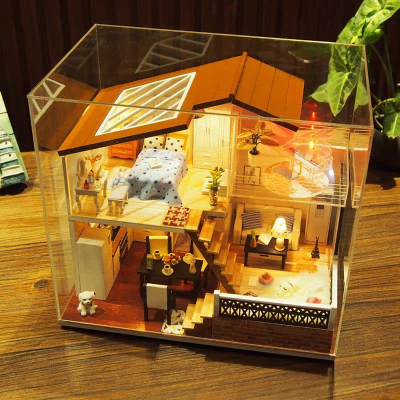 diy小屋 中国风 生日礼物手工创意一米阳光小房子拼装模型艺术屋