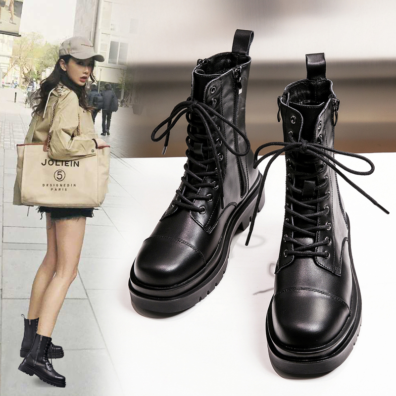 Autumn and winter 2020 new thick soled leather Martin boots womens British style lace up side zipper short boots