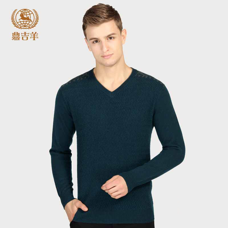 New pure cashmere sweater in autumn and winter: Mens V-neck slim Pullover chicken heart collar sweater solid color warm sweater