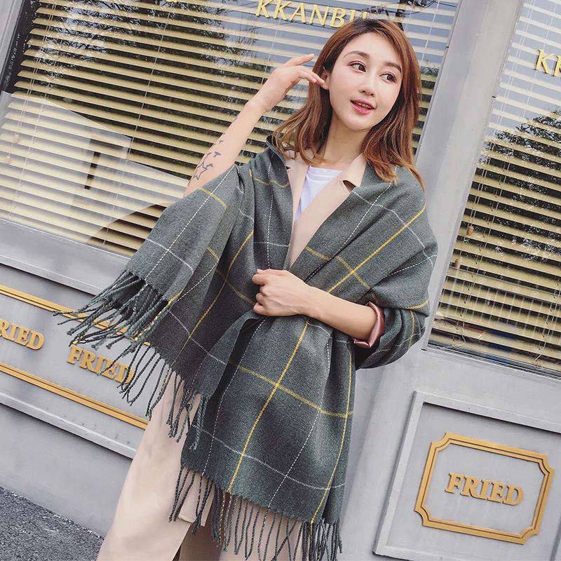 Korean winter Plaid long scarf mens and womens Cashmere Shawl