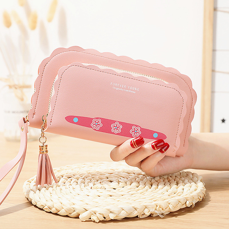 New online Red Korean version small fresh fold lace double layer mother and child bag multi-functional long wallet wallet womens handbag