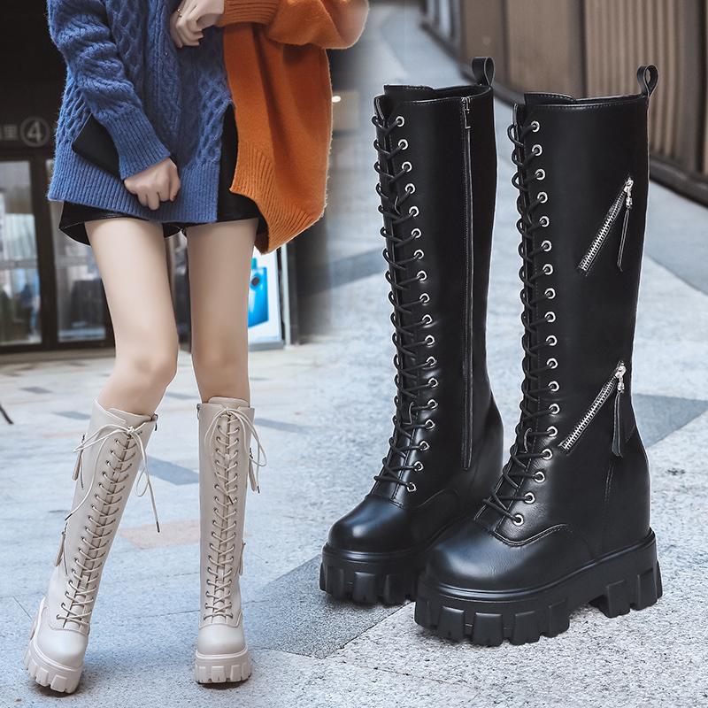 女靴时尚新款坡跟