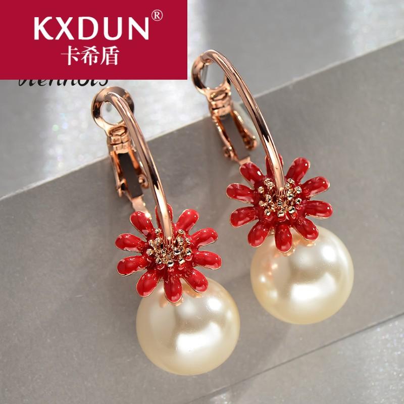 KXDUN/卡希盾2019小菊花玫瑰金仿珍珠耳环清新可爱小巧花朵gn0224