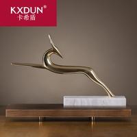 KXDUN/卡希盾北欧招财鹿金铜大理石软饰家装高档客厅酒柜gs1023