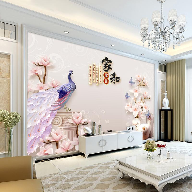 Обои для рабочего стола 5d поколение Китайский стиль гостиной атмосферы видео стены покрытия росписи 3D спальня украшения