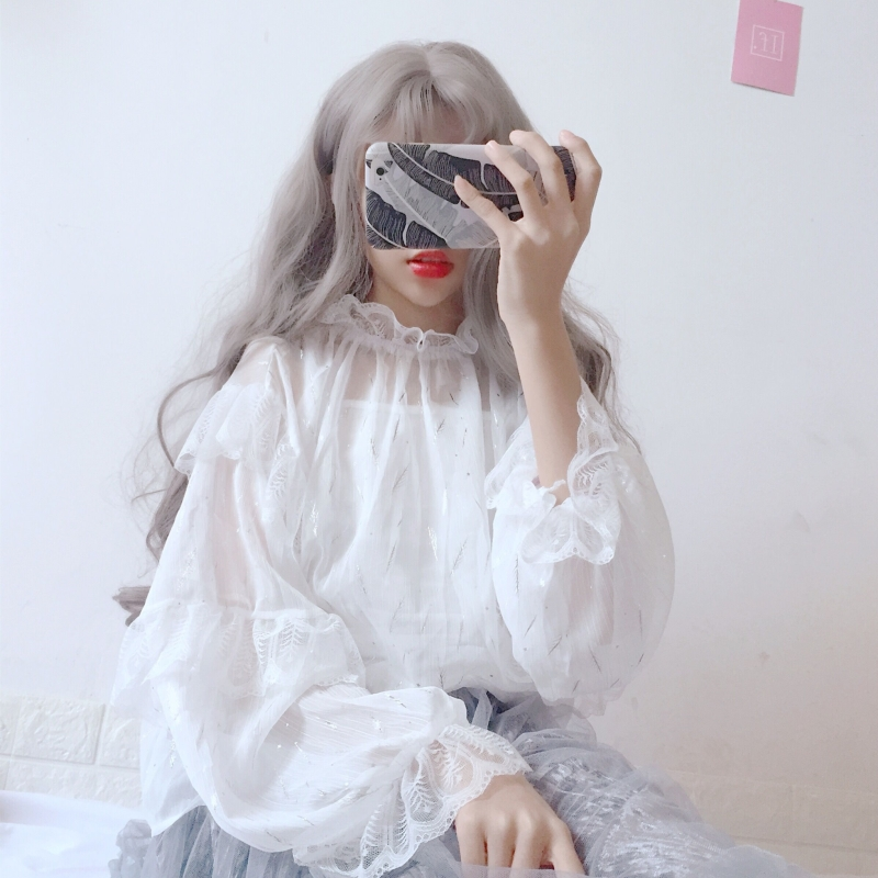 Sun protection super fairy Lace Chiffon shirt Lolita Lolita with bubble sleeve bottoming top fairy top summer