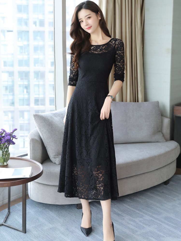Lady style lace dress womens spring 2019 new over knee long slim womens big dress Fairy