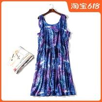 出口欧美单女装胸围110-180cm 圆领花色胖MM超大码连衣裙女D1056