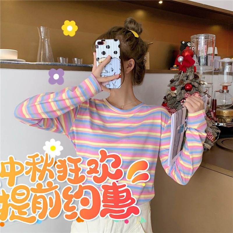 券后34.20元小众彩虹条纹长袖秋季2019新款t恤