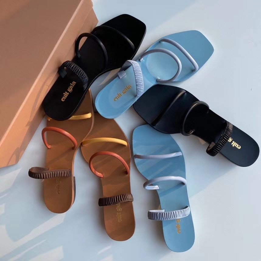 小众cult品牌gaia气质极简牛皮细带 拼色 两穿一字带罗马凉鞋女夏