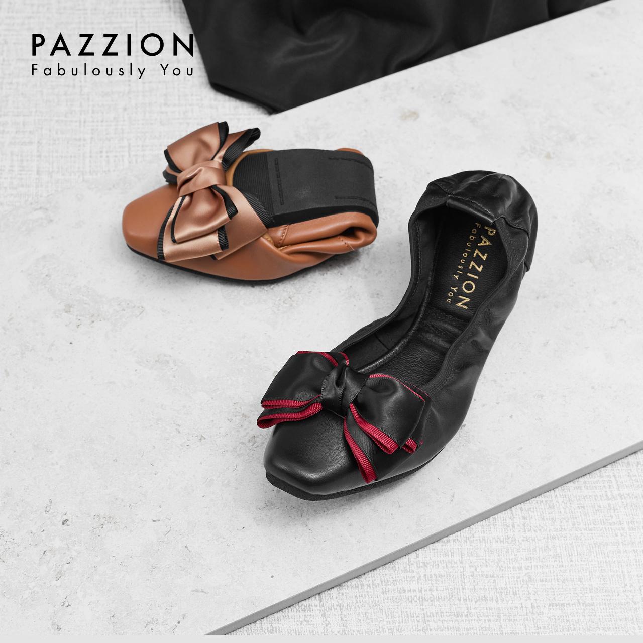 PAZZION休闲舒适羊皮软底方头平底鞋 优雅丝绸拼色蝴蝶结浅口单鞋