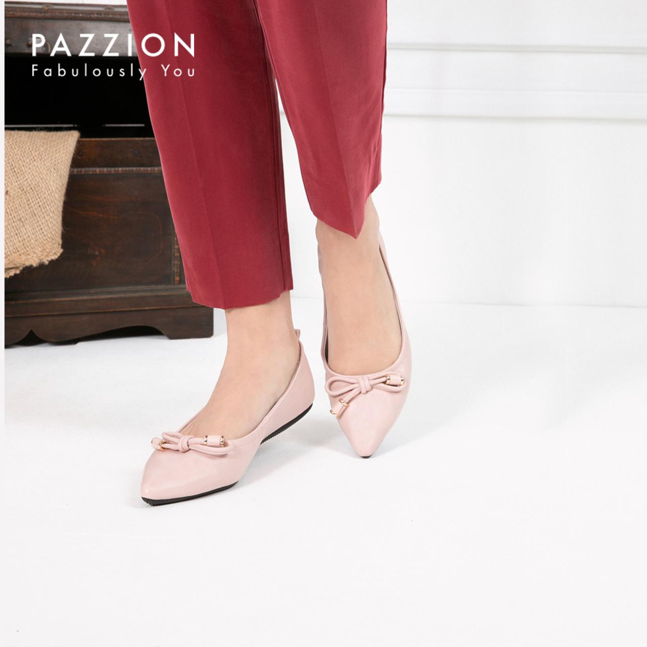PAZZION2019新款尖头浅口蝴蝶绳结羊皮单鞋女 时尚休闲平底女鞋