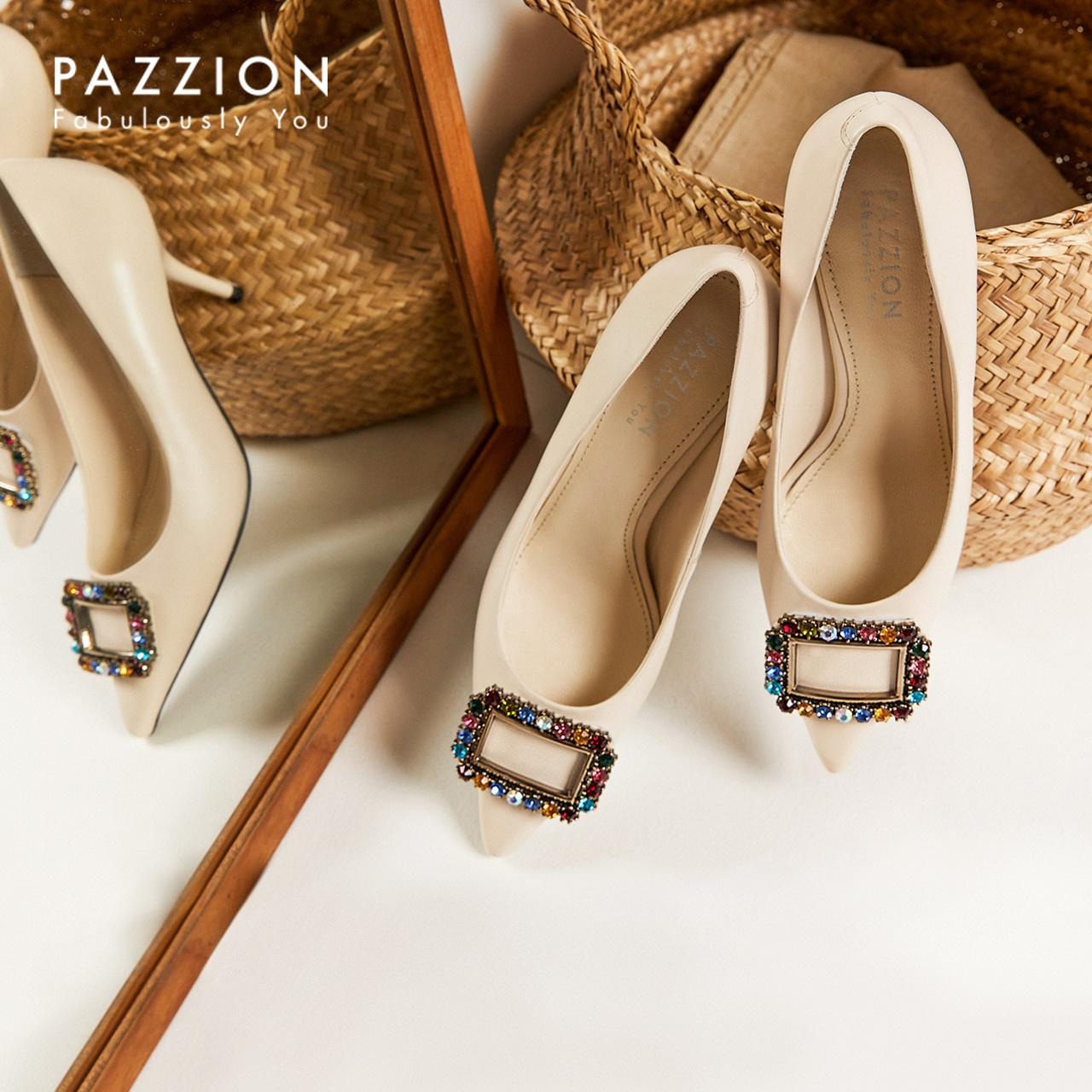 PAZZION2019新款优雅时尚彩钻方扣细高跟鞋 舒适浅口尖头羊皮单鞋