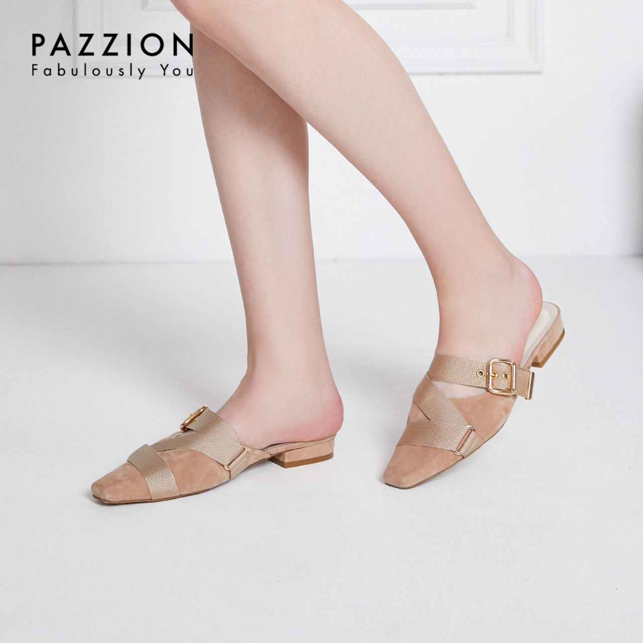 PAZZION2019夏新款复古小方头交叉搭扣带穆勒鞋 时尚粗跟低跟单鞋