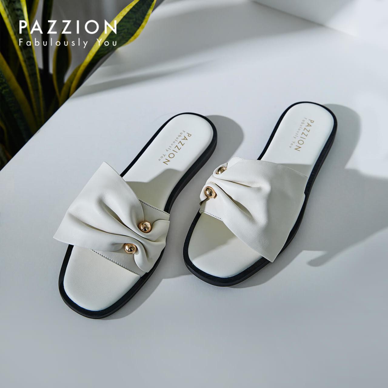PAZZION2019新款优雅一字式带蝴蝶结外穿拖鞋 时尚金属珠钉平底鞋