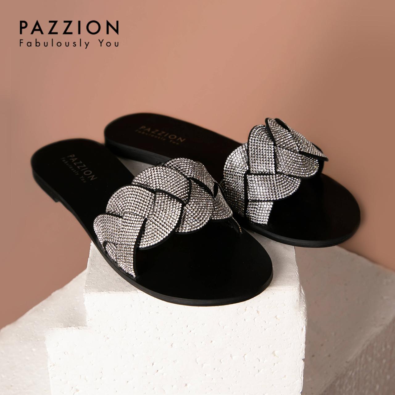 PAZZION时尚编织纹水钻一字外穿拖鞋女2019新款 休闲清凉平底单鞋
