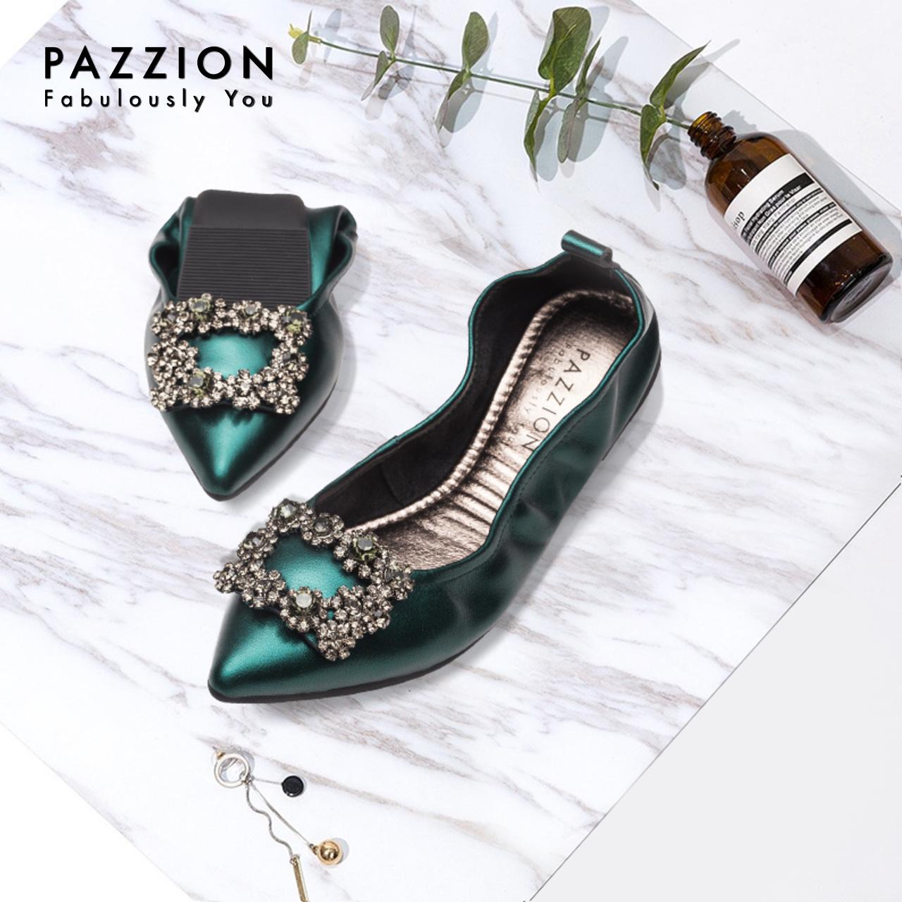 PAZZION优雅尖头羊皮平底浅口单鞋女 复古金属方扣钻饰软底折叠鞋