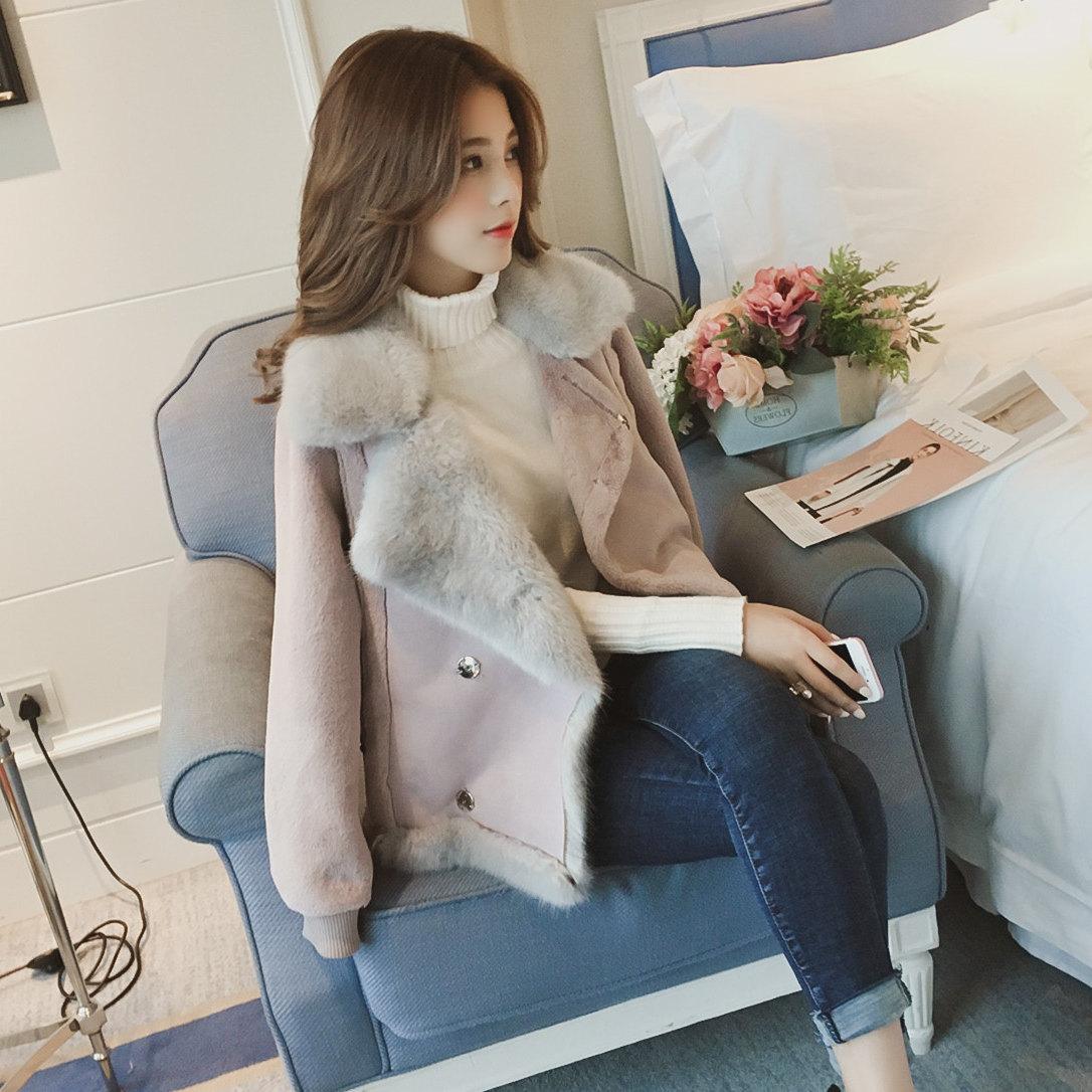 皮毛一体外套女短款2017新款潮机车麂皮绒羊羔毛韩版加厚冬毛绒绒
