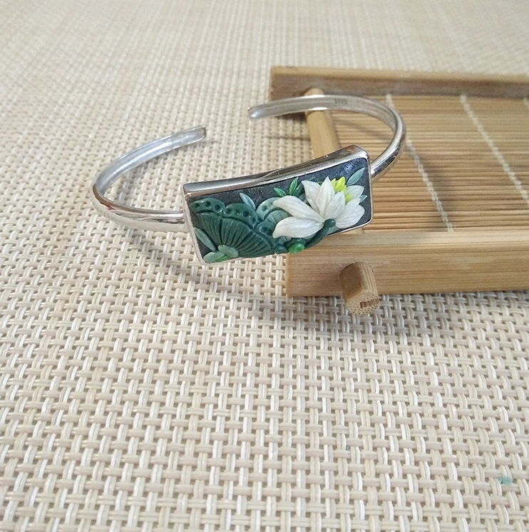 [lotus wind] original design handmade soft pottery lotus 925 Silver Bracelet