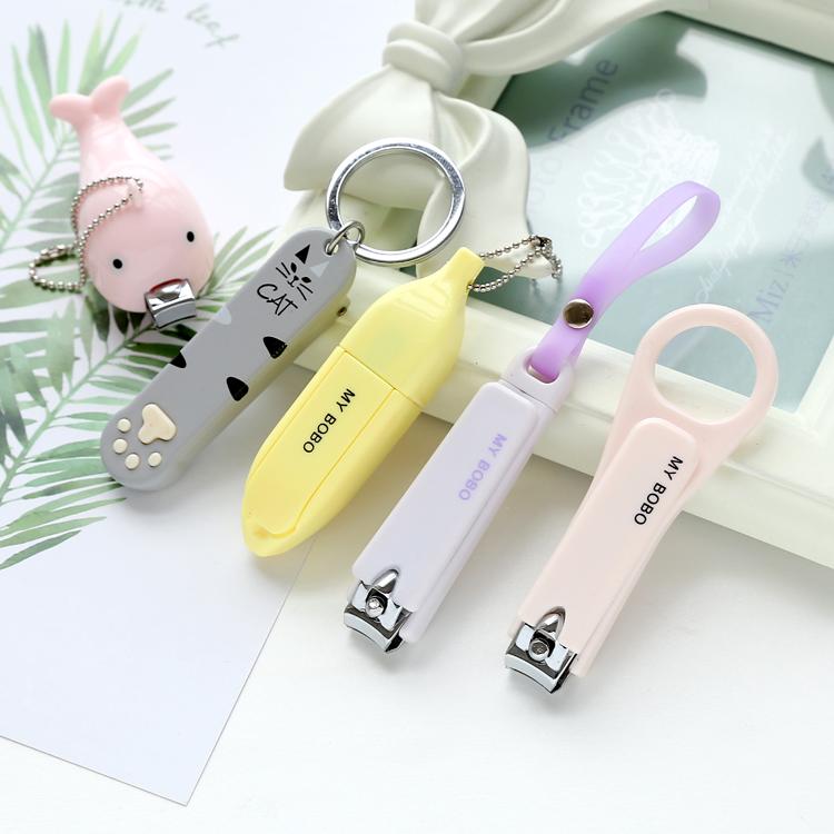 可爱折叠修剪指甲锉指甲钳美甲钳指甲刀创意可挂钥匙扣圈单个装