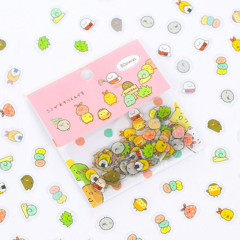 日韩国创意卡通贴纸角落生物贴纸包DIY手账周边可爱装饰贴80枚入
