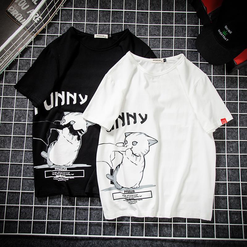 几物设计店铺猫印花短袖男玩药局七号宇宙bytehare原创男装T恤潮