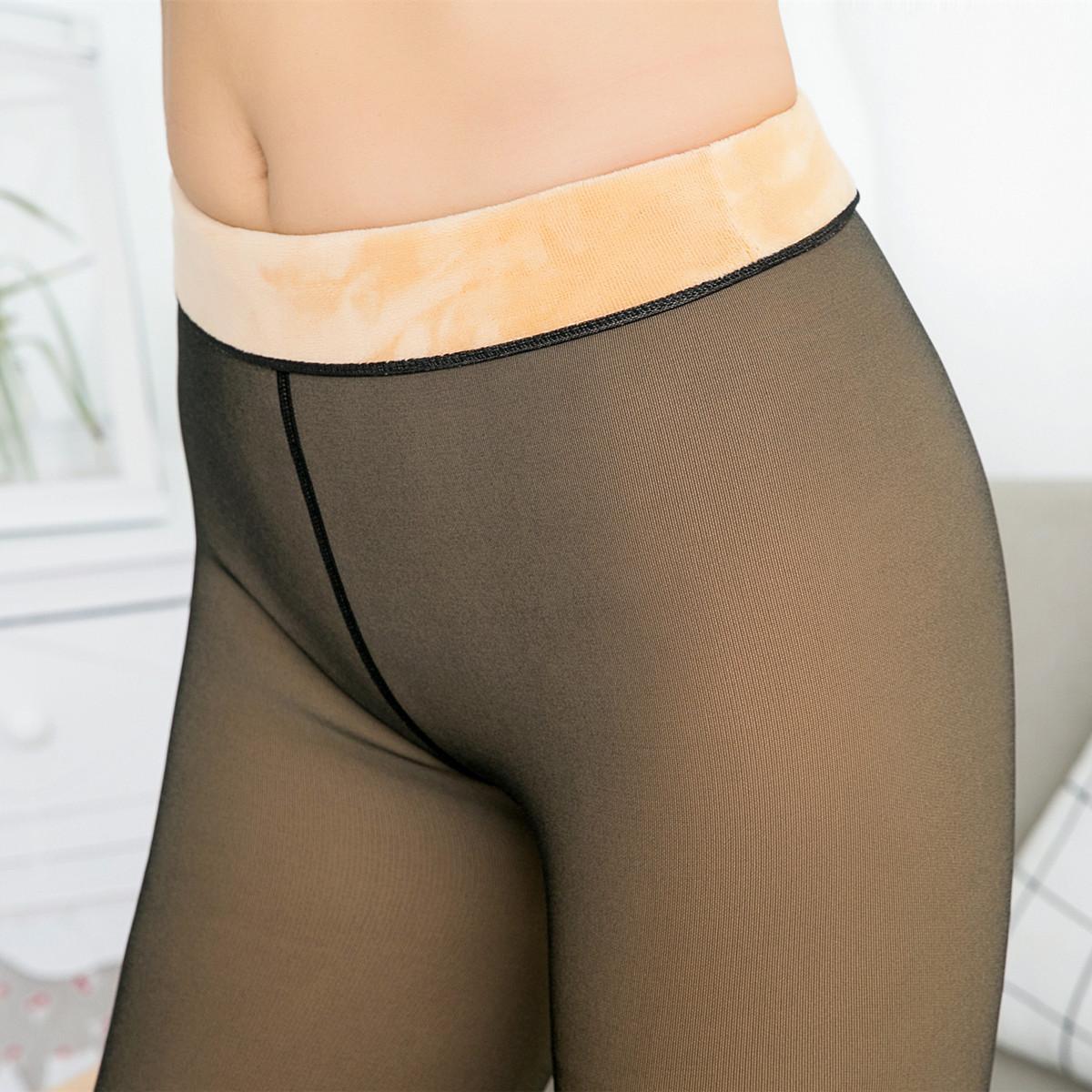 12月02日最新优惠春秋薄款单层一体无缝假透肉打底裤外穿加绒加厚肤色保暖连脚袜女