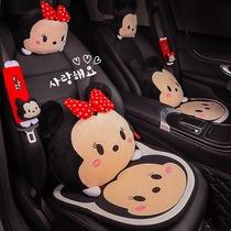 汽车靠枕腰靠可爱卡通靠背护腰靠垫车载座椅腰垫套装抱枕车用头枕