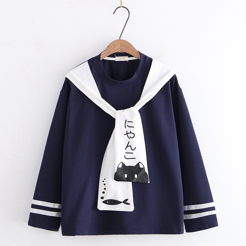 Autumn Japanese Mori Girl New College Style Girl Big Boy Embroidered Navy Collar Long Sleeve T-shirt Women's Top 13-19 Trend