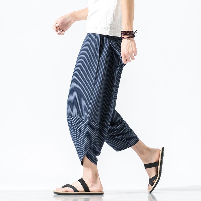 2021 summer Chinese style cotton hemp Capris mens loose large striped Harem Pants trend large pants