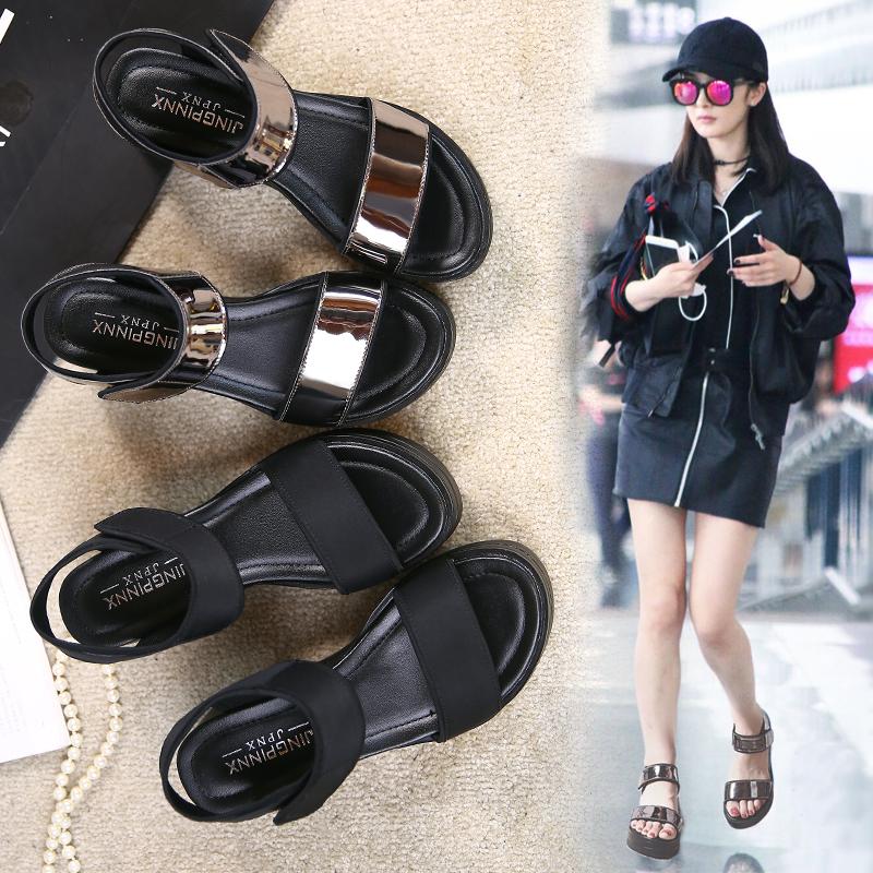 凉鞋女2021夏季新款坡跟高跟韩版罗马平底松糕厚底魔术贴女鞋子