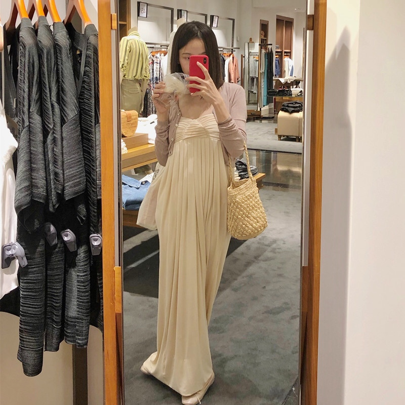 《垂》裹胸式礼服式长款纯色抹胸裙