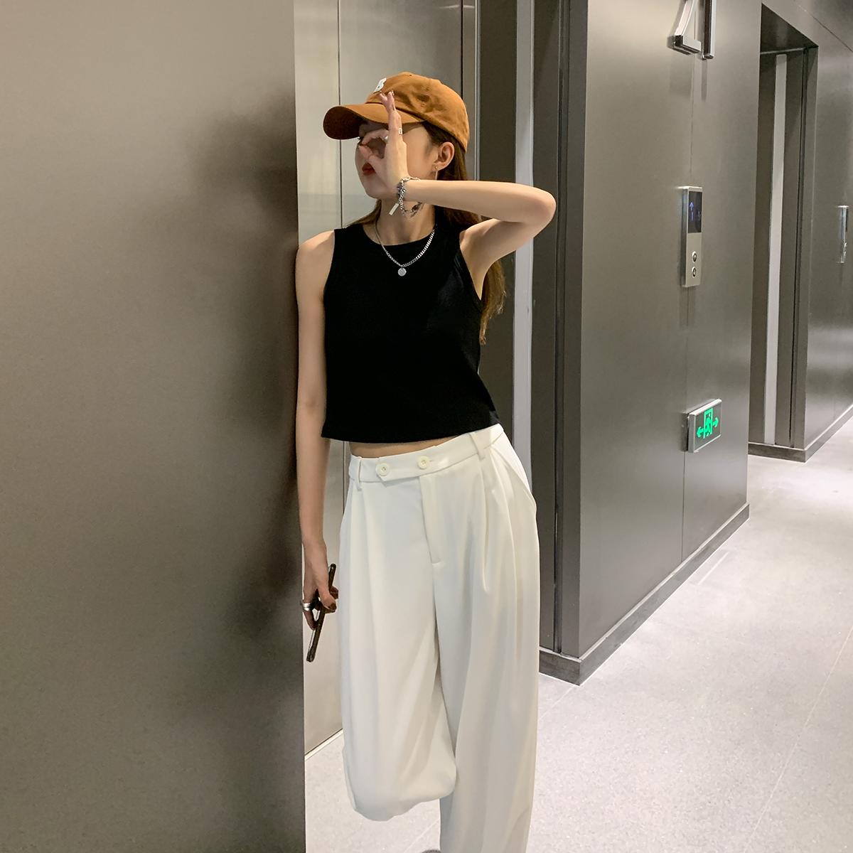SIXI四喜家春夏 个性辣妹 背心女打底外穿内搭运动风短款吊带上衣