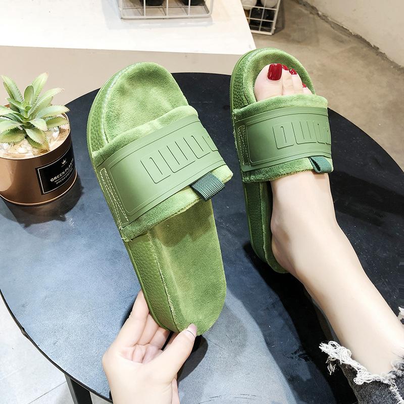 网红一字拖2020新款夏外穿平底绿色毛绒舒适防滑孕妇拖鞋女ins潮图片