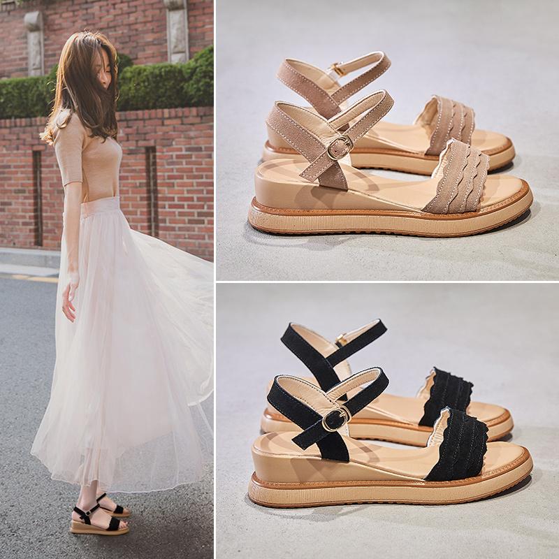 坡跟凉鞋女夏季2019新款百搭舒适时尚平底中跟仙女风网红厚底女鞋