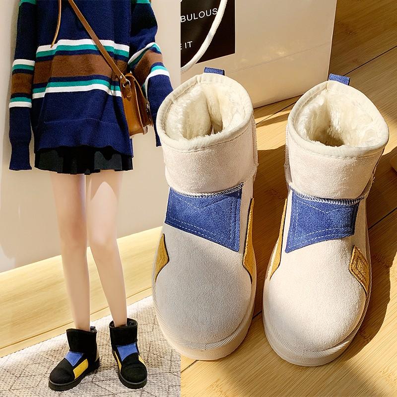 欧曼初网红雪地靴女冬2019新款百搭韩版短筒短靴平底加厚加绒棉鞋