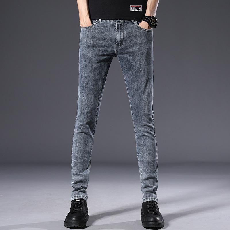 男士休闲帅气直角潮流牛仔裤2020新款春夏季烟灰色水洗修身小脚裤