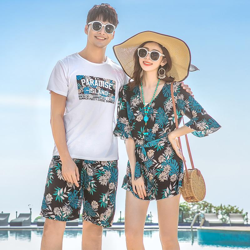 不包邮情侣装夏装2019新款海南度假婚纱照韩版t恤衫沙滩蜜月气质qlz套装