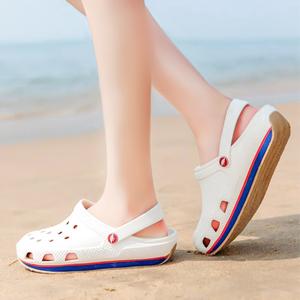 2021新款牛筋底洞洞鞋夏季外穿包头厚底女情侣防滑透气沙滩凉拖鞋