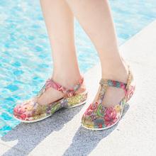沙滩鞋 女式 2021新款 印花厚底果冻鞋 夏季 软底防滑洞洞鞋 海边凉拖鞋