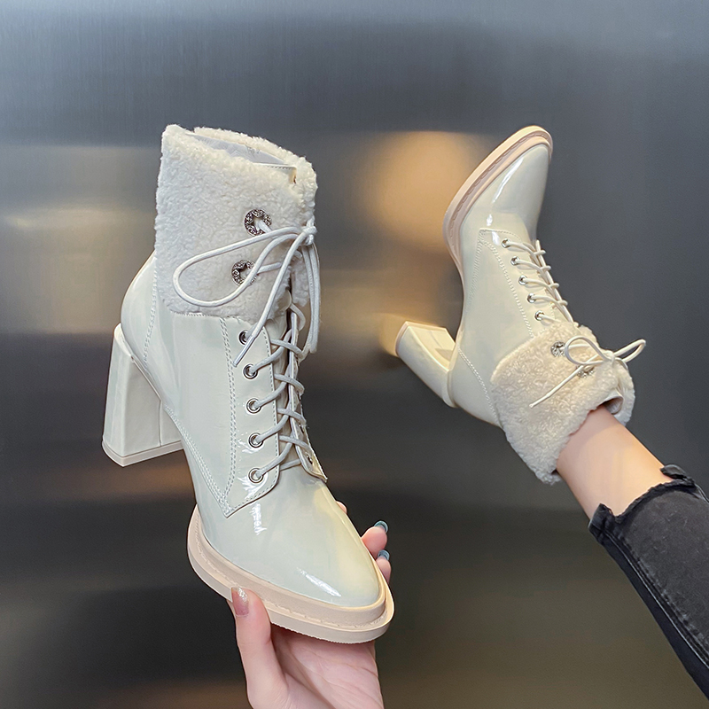 European and American lace up thick heel leather short boots women 2020 new spring and autumn single boots fashion boots patent leather high heels women