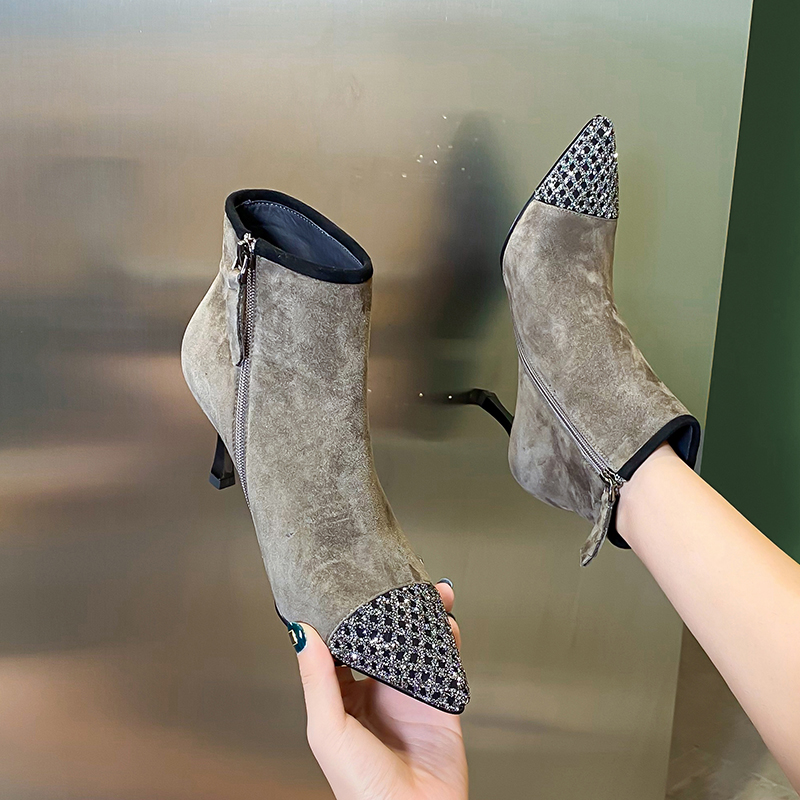 Leather black suede high heels spring and autumn 2020 new fashion side zipper Rhinestone pointed boots Versatile Single boots
